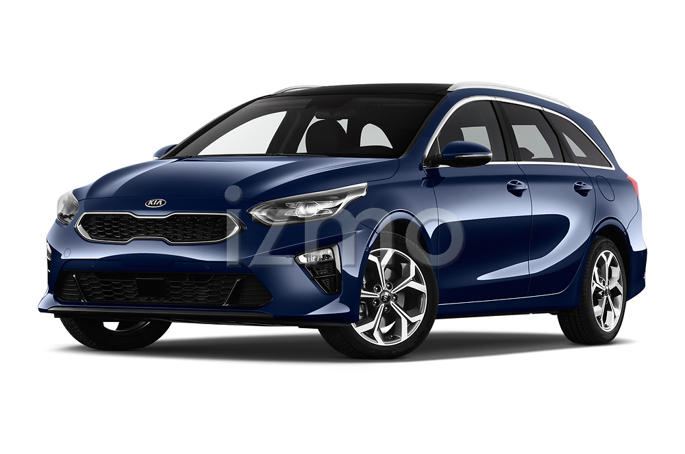 Stock pictures of low aggressive front three quarter view of 2019 KIA Ceed-SW More 5 Door Wagon Low Aggressive