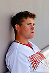 11 March 2006: Ryan Zimmerman, third baseman for the Washington Nationals, rests in the dugout during a Spring Training game against the Los Angeles Dodgers. The Nationals defeated the Dodgers 2-1 in 10 innings at Space Coast Stadium, in Viera, Florida...Mandatory Photo Credit: Ed Wolfstein.