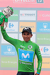 Nairo Quintana (COL) Movistar Team takes over the points Green Jersey at the end of Stage 7 of La Vuelta 2019 running 183.2km from Onda to Mas de la Costa, Spain. 30th August 2019.<br /> Picture: Colin Flockton | Cyclefile<br /> <br /> All photos usage must carry mandatory copyright credit (© Cyclefile | Colin Flockton)