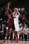 25 February 2016: Wake Forest's Elisa Penna (41) and Virginia Tech's Taijah Campbell (CAN) (24). The Wake Forest University Demon Deacons hosted the Virginia Tech Hokies at Lawrence Joel Veterans Memorial Coliseum in Winston-Salem, North Carolina in a 2015-16 NCAA Division I Women's Basketball game. Virginia Tech won the game 54-48.