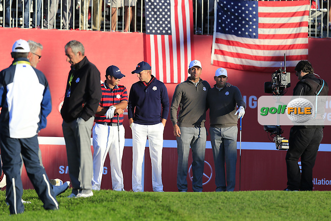 Sergio Garcia and Rafa Cabrera-Bello (ESP) Team Europe play Patrick Reed and Jordan Spieth US Team on the 1st tee to start Saturday Morning Foursomes Matches of the 41st Ryder Cup, held at Hazeltine National Golf Club, Chaska, Minnesota, USA. 1st October 2016.<br /> Picture: Eoin Clarke | Golffile<br /> <br /> <br /> All photos usage must carry mandatory copyright credit (&copy; Golffile | Eoin Clarke)