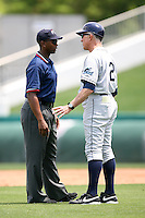 April 13, 2009:  Manager Jim Morrison of the Charlotte Stone Crabs, Florida State League Class-A affiliate of the Tampa Bay Rays, argues a call with umpire A.J. Johnson during a game at Hammond Stadium in Fort Myers, FL.  Photo by:  Mike Janes/Four Seam Images