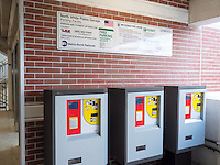 Multi-space pay stations inside the Metro-North North White Plains Station Parking Garage.