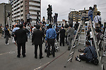 10th Anniversary File Photo: Journalists observe rescue workers attempting to reach passengers still trapped inside a train that crashed into a building in Amagasaki, Japan on April 25, 2005. 107 people were killed in the accident, 562 were injured.<br /> <br /> The accident was Japan's most serious since a train accident in 1963 killed 162 people. (Photo by Duits.co/AFLO)