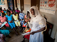 Nurse/midwife ROSINA AFFRAIM talks about prenatal care with expectant mothers at the Munuki Healthcare Center in Juba, South Sudan. The center deals with maternity, malaria, tuberculosis, HIV/AIDS and other common conditions. With funding from USAID, Jhpiego, an affiliate of Johns Hopkins University, operates the center.