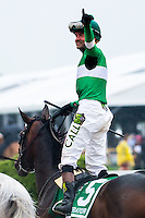 BALTIMORE, MD - MAY 21: Kent J. Desormeaux, aboard Exaggerator #5, acknowledges the crowd after winning the the 141st running of the Preakness Stakes at Pimlico Race Course on May 21, 2016 in Baltimore, Maryland. (Photo by Amy K. Dragoo/Eclipse Sportswire/Getty Images)