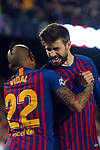 UEFA Champions League 2018/2019.<br /> Round of 16 2nd leg.<br /> FC Barcelona vs Olympique Lyonnais: 5-1.<br /> Arturo Vidal & Gerard Pique.