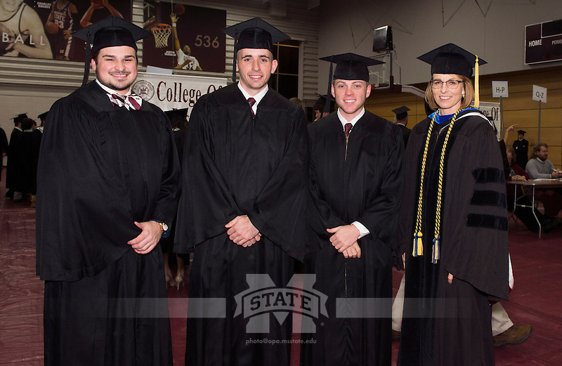 Graduates preparing to line up for the processional.<br />  (photo by Beth Wynn / &copy; Mississippi State University)