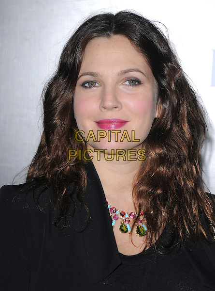 Drew Barrymore.Rodeo Drive Walk of Style 2012 held on Rodeo Dr., Beverly Hills, California, USA..December 5th, 2012 .headshot portrait black top pink lipstick necklace green pink blue turquoise .CAP/DVS.©DVS/Capital Pictures.