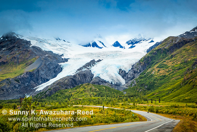 Worthington Glacier with Richardson Hwy. Valdez, Southcentral Alaska, Autumn.