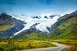 Worthington Glacier with Richardson Hwy. Valdez, Southcentral Alaska, Autumn.