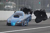 Feb 10, 2017; Pomona, CA, USA; NHRA top alcohol funny car driver Mike Doushgounian during qualifying for the Winternationals at Auto Club Raceway at Pomona. Mandatory Credit: Mark J. Rebilas-USA TODAY Sports