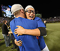 Munenori Kawasaki (Cubs),<br /> OCTOBER 22, 2016 - MLB :<br /> Chicago Cubs shortstop Munenori Kawasaki celebrate with his teammate after winning the Game 6 of the National League baseball championship series against the Los Angeles Dodgers, Saturday, Oct. 22, 2016, in Chicago. The Cubs won 5-0 to win the series and advance to the World Series against the Cleveland Indians. (Photo by AFLO)