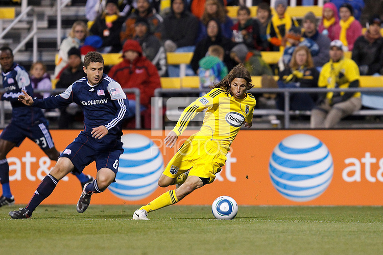 8 MAY 2010:  New England Revolutions' Chris Tierney (8) and Frankie Hejduk of the Columbus Crew(2) during MLS soccer game between New England Revolution vs Columbus Crew at Crew Stadium in Columbus, Ohio on May 8, 2010. The Columbus defeated New England 3-2.