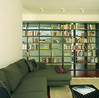 The long central bookcase acts as a partition dividing the entrance hall from the spacious living area