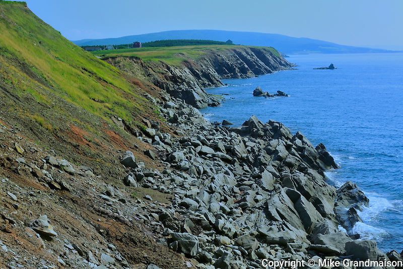 Rocky coastline along Cape Breton (Cabot Trail)<br /> Cape Lemoine<br /> Nova Scotia<br /> Canada