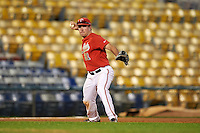 Ohio State Buckeyes third baseman Nick Sergakis (21) throws to first during a game against the Pitt Panthers on February 20, 2016 at Holman Stadium at Historic Dodgertown in Vero Beach, Florida.  Ohio State defeated Pitt 11-8 in thirteen innings.  (Mike Janes/Four Seam Images)