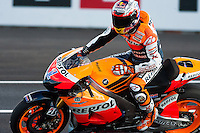 Casey Stoner having finished the qualifying time