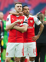 Aaron Ramsey and Theo Walcott of Arsenal look to the stands for family during the FA Cup Final match between Arsenal v Chelsea, Wembley stadium, London on 27th May 2017