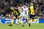 Daniel Ceballos of Real Madrid (R) fights for the ball with Borussia Dortmund Midfielder Nuri Sahin (L) during the Europe Champions League 2017-18 match between Real Madrid and Borussia Dortmund at Santiago Bernabeu Stadium on 06 December 2017 in Madrid Spain. Photo by Diego Gonzalez / Power Sport Images