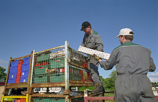Two men in their thirties, wearing Land Rover overalls, are unloading some pallets of Land Rover spare parts for a car club meeting. --- No releases available. Automotive trademarks are the property of the trademark holder, authorization may be needed for some uses.