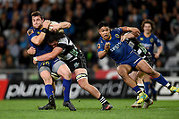 Michael Collins of Otago is tackled during the 2018 Mitre 10 Cup Championship rugby semifinal between Canterbury and Counties Manukau at Forsyth Barr Stadium in Dunedin, New Zealand on Saturday, 20 October 2018. Photo: Joe Allison / lintottphoto.co.nz
