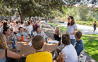 Julie Prebel, Assistant Professor, Writing & Rhetoric. Incoming first years meet with their faculty advisors during the Major Information Sessions & Advising part of Orientation in the Academic Quad, Aug. 24, 2015.<br /> (Photo by Marc Campos, Occidental College Photographer)