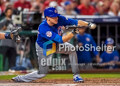 6 October 2017: Chicago Cubs starting pitcher Kyle Hendricks advances the runner to second with a sacrifice bunt in the 6th inning of the first game of the NLDS against the Washington Nationals at Nationals Park in Washington, DC. The Cubs shut out the Nationals 3-0 to take a 1-0 lead in their best of five Postseason series. Mandatory Credit: Ed Wolfstein Photo *** RAW (NEF) Image File Available ***