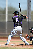 Colorado Rockies third baseman Sam Mende (8) during an instructional league game against the Milwaukee Brewers on October 1, 2013 at Maryvale Baseball Park Training Complex in Phoenix, Arizona.  (Mike Janes/Four Seam Images)