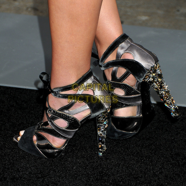 "JORDANA BREWSTER's shoes .""A Nightmare On Elm Street"" Los Angeles Premiere held at Grauman's Chinese Theatre, Hollywood, California, USA, 27th April 2010..detail feet black and grey gray strappy cut out heels gold jewel encrusted lace-up silk satin silver stones .CAP/ADM/BP.©Byron Purvis/AdMedia/Capital Pictures."