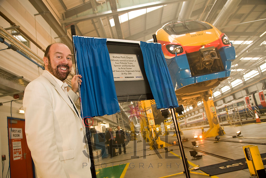 Stagecoach boss Brian Souter at the official opening of the new £22 Million Train Maintenance depot at Etches Park, Derby