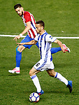 Atletico de Madrid's Saul Niguez (l) and Real Sociedad's Sergio Canales during La Liga match. April 4,2017. (ALTERPHOTOS/Acero)