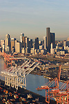 Seattle, Aerial, Container cranes, Port of Seattle, Central Business District, Elliott Bay, Puget Sound, Washington State, Pacific Northwest, east waterway,