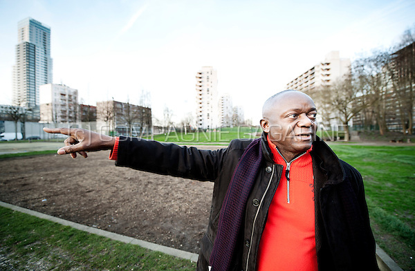 Pierre Kompany, father of Belgian football player Vincent Kompany, pictured in the area in Brussels where they grew up in the 1990s (Belgium, 23/12/2015)