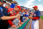 14 March 2010: Washington Nationals' outfielder Justin Maxwell signs autographs prior to a Spring Training game against the St. Louis Cardinals at Space Coast Stadium in Viera, Florida. The Cardinals defeated the Nationals 7-3 in Grapefruit League action. Mandatory Credit: Ed Wolfstein Photo