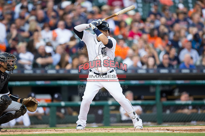 Victor Martinez (41) of the Detroit Tigers at bat against the Chicago White Sox at Comerica Park on June 2, 2017 in Detroit, Michigan.  The Tigers defeated the White Sox 15-5.  (Brian Westerholt/Four Seam Images)