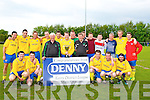 Killorglin AFC who defeated Asdee Rovers in the Premier B Denny's soccer League at MountHawk Park, Tralee on Sunday  Front l-r: Shane McSweeney, Lar O'Connor, John Regan (FAI), Kieran O'Shea (capt), Sean O'Keeffe (FAI), Mike Kelliher, Paul McKenna and Karl Falvey. Back l-r: Aidan O'Connor, Johnny Carey, Jerry O'Brien, Sean Costello, Ryan Keane, Chris O'Connor, Alan O'Connor, Lee Carey, Dillon Carey, Mike Griffin (manager),Gary Cahillane and Mitchell O'Sullivan