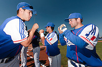 20 August 2010: Sebastien Duchossoy of Team France checks with Joris Navarro prior to France 6-5 win over Italy, at the 2010 European Championship, under 21, in Brno, Czech Republic.