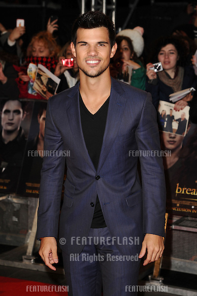 "Taylor Lautner arriving for the ""The Twilight Saga: Breaking Dawn Part 2"" premiere at the Odeon Leicester Square, London. 14/11/2012 Picture by: Steve Vas / Featureflash"