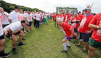 Pictured: Participants before the attempt in Cardiff, Wales, UK. Wednesday 24 August 2016<br />
