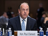 Paul Clement, former Solicitor General United States Department of Justice and current Partner Kirkland & Ellis LLP, testifies in favor of the nomination of Judge Brett Kavanaugh before the US Senate Judiciary Committee on his nomination as Associate Justice of the US Supreme Court to replace the retiring Justice Anthony Kennedy on Capitol Hill in Washington, DC on Friday, September 7, 2018.<br /> Credit: Ron Sachs / CNP