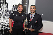 Steelers Player of the Year Jimmy Tupou with Moana Leilua. Counties Manukau Rugby Unions Senior Prize giving held at ECOLight Stadium Pukekohe on Wednesday November 2nd, 2016.<br /> Photo by Richard Spranger.