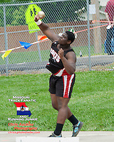 Parkway Central Junior Khalen Saunders launches the shot 59-04. for a 2nd place finish in the shot put at the Missouri Class 4 Sectional 2 Track and Field Meet at Parkway North High School in St. Louis, MO. Saturday, May 18.