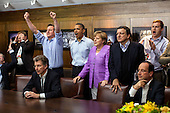 "May 19, 2012.""At Camp David for the G8 Summit, European leaders took a break to watch the overtime shootout of the Chelsea vs. Bayern Munich Champions League final. Prime Minister David Cameron of the United Kingdom, the President, Chancellor Angela Merkel of Germany, José Manuel Barroso, President of the European Commission, French President Francois Hollande react during the winning goal."".Mandatory Credit: Pete Souza - White House via CNP"