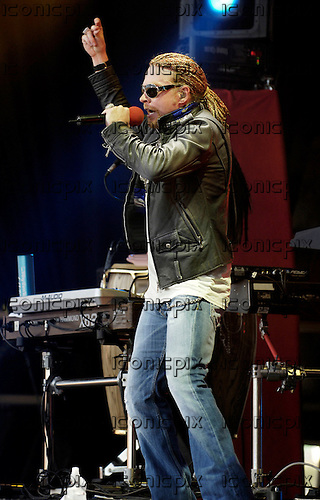 Guns 'n; Roses - Axl Rose - performing live on the Main Stage on Day 3 of the 2006 Download Festival at Donington Park Leicestershire UK - 11 Jun 2006.  Photo credit: George Chin/IconicPix