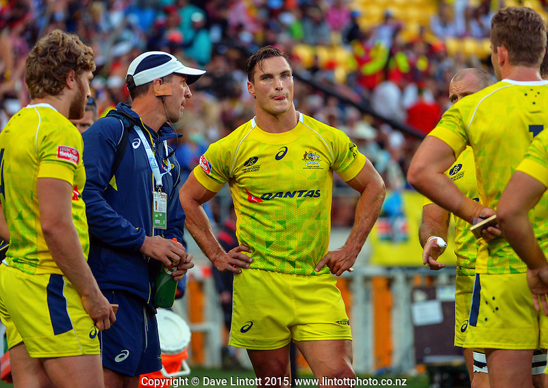 Australia Sevens captain Ed Jenkins reflects on losing the Plate Final to Fiji on day two of the 2015 HSBC Sevens World Series Wellington Sevens at Westpac Stadium, Wellington, New Zealand on Saturday, 7 February 2015. Photo: Dave Lintott / lintottphoto.co.nz