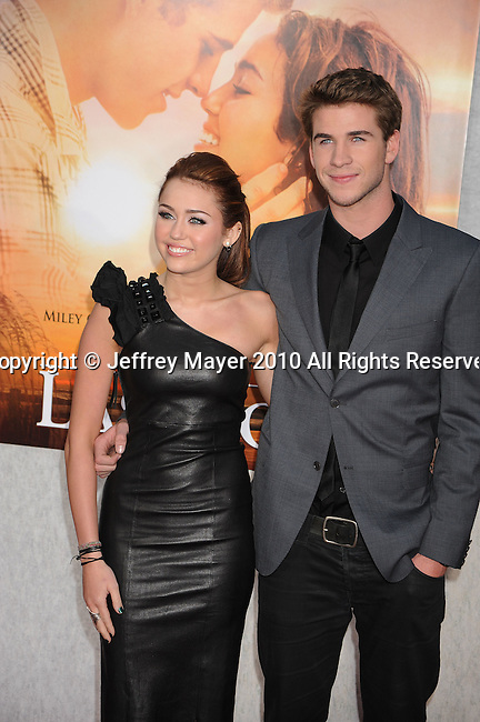 "HOLLYWOOD, CA. - March 25: Miley Cyrus and Liam Hemsworth arrive to ""The Last Song"" Los Angeles Premiere at ArcLight Hollywood on March 25, 2010 in Hollywood, California."