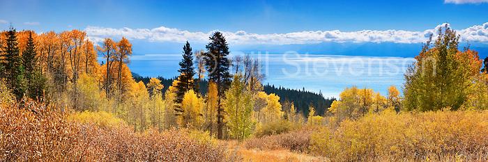 A panorama of fall colors above Lake Tahoe, CA