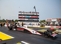 Aug 17, 2018; Brainerd, MN, USA; NHRA top fuel driver Billy Torrence during qualifying for the Lucas Oil Nationals at Brainerd International Raceway. Mandatory Credit: Mark J. Rebilas-USA TODAY Sports
