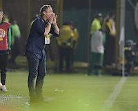 BOGOTÁ -COLOMBIA, 22-08-2015. Ricardo Lunari técnico de Millonarios gesticula durante partido contra La Equidad por la fecha 8 de la Liga Águila II 2015 jugado en el estadio Metropolitano de Techo de la ciudad de Bogotá./ Ricardo Lunari coach of Millonarios gestures during match against La Equidad for the 8th date of the Aguila League II 2015 played at Metropolitano de Techo stadium in Bogota city. Photo: VizzorImage/ Gabriel Aponte / Staff